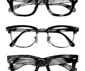 glasses, drawing, and black and white image