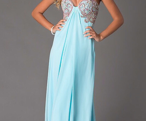 blue, dress, and sweetheart image