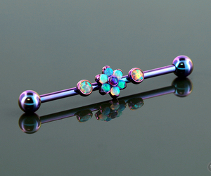 flower, industrial, and piercing image