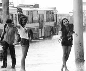 rain, girl, and friends image