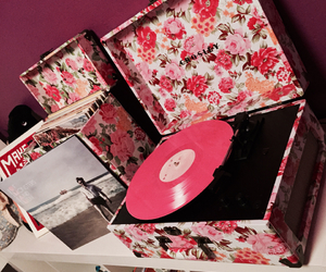 floral, pink, and record player image
