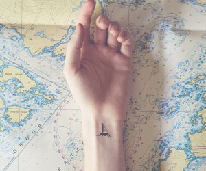 map, tatoo, and travel image