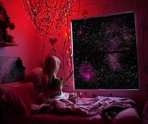 girl, stars, and light image