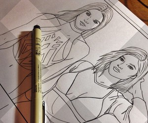 drawing, kendall jenner, and kylie jenner image