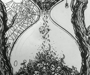 black & white, creepy, and skull image
