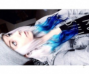 blue hair, dyed hair, and indie image