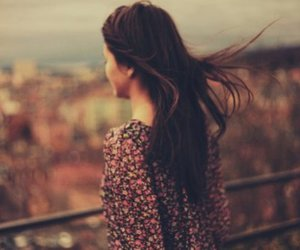 girl, landscape, and distracted image