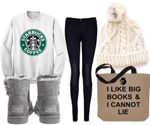 outfit, fashion, and starbucks image