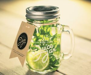 drink, green, and jar image