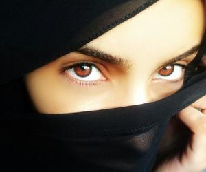 beautiful eyes, girl, and allah image