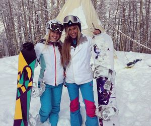 girls, snowboarding, and winter image
