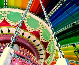 colorful, rainbow, and carousel image