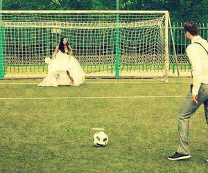 love, football, and wedding image
