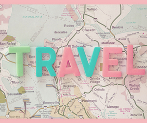travel, map, and pink image
