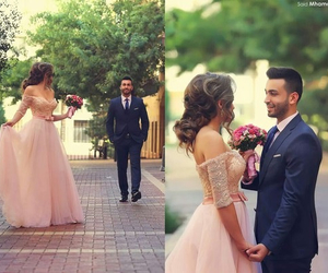 dress, love, and couple image