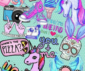 unicorn, hipster, and wallpaper image