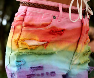 colorful, high waisted, and denim shorts image