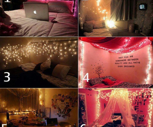 bedroom, lights, and pink image