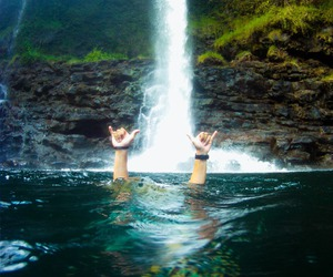 summer, waterfall, and travel image