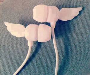 earphones, white, and wings image
