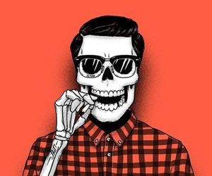 skull, red, and hipster image