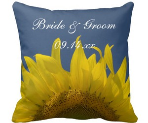 blue, pillows, and sunflowers image