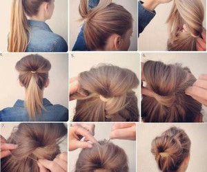 messy bun, easy hairstyle, and hair image
