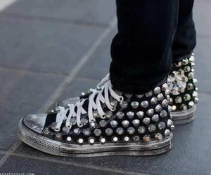 high tops, studded converse, and cool shoes image