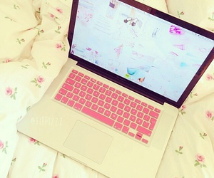 girly, pink, and laptop image