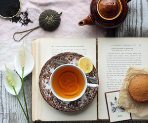 tea, book, and flowers image