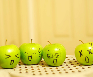 apples, emoticons, and faces image
