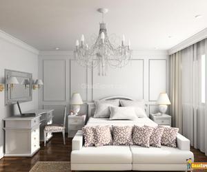 bedroom, interior, and chandelier image