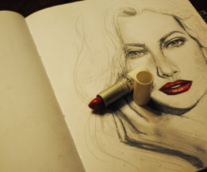 drawing, lips, and lipstick image