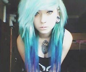 emo, hair, and blue hair image