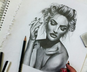 drawing, art, and woman image