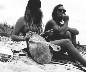 beach, couple, and black and white image