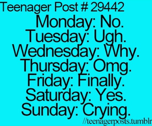 teenager post, monday, and OMG image