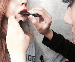 grey, grunge, and lipstick image