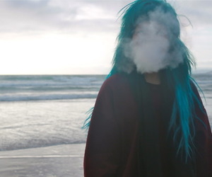 girl, smoke, and hair image