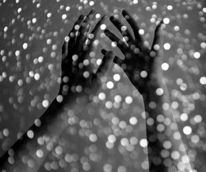 hands, black and white, and glitter image