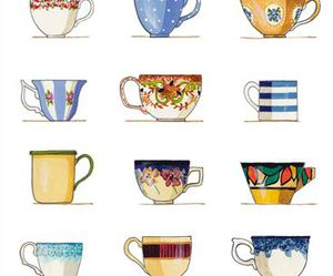 cup, drawing, and teacup image