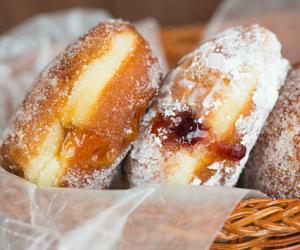 food, donuts, and sugar image