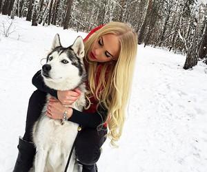 girl, blonde, and dog image