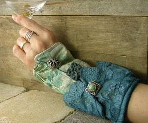 blue, brocade, and buttons image