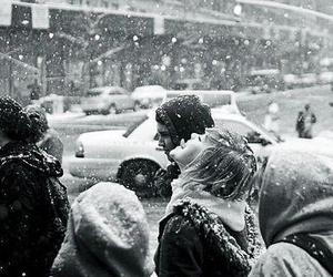 snow, girl, and black and white image