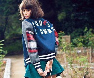 baseball jacket, cute girl, and fashion image