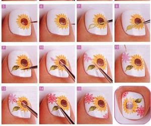 nails, sunflower, and nail art image