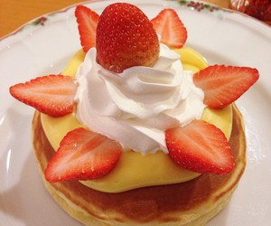 strawberry, pancakes, and sweet image