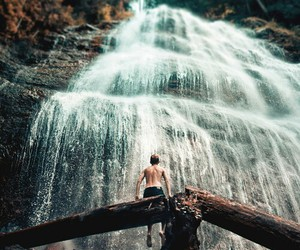 waterfall, nature, and boy image