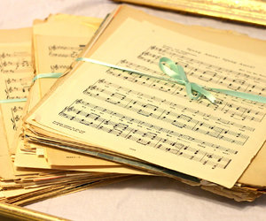 sheet music and vintage image